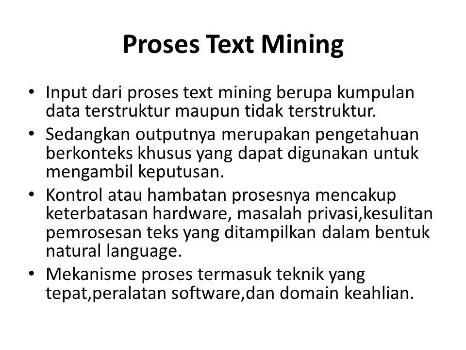 Proses Text Mining Input dari proses text mining berupa kumpulan data terstruktur maupun tidak terstruktur. Sedangkan outputnya merupakan pengetahuan