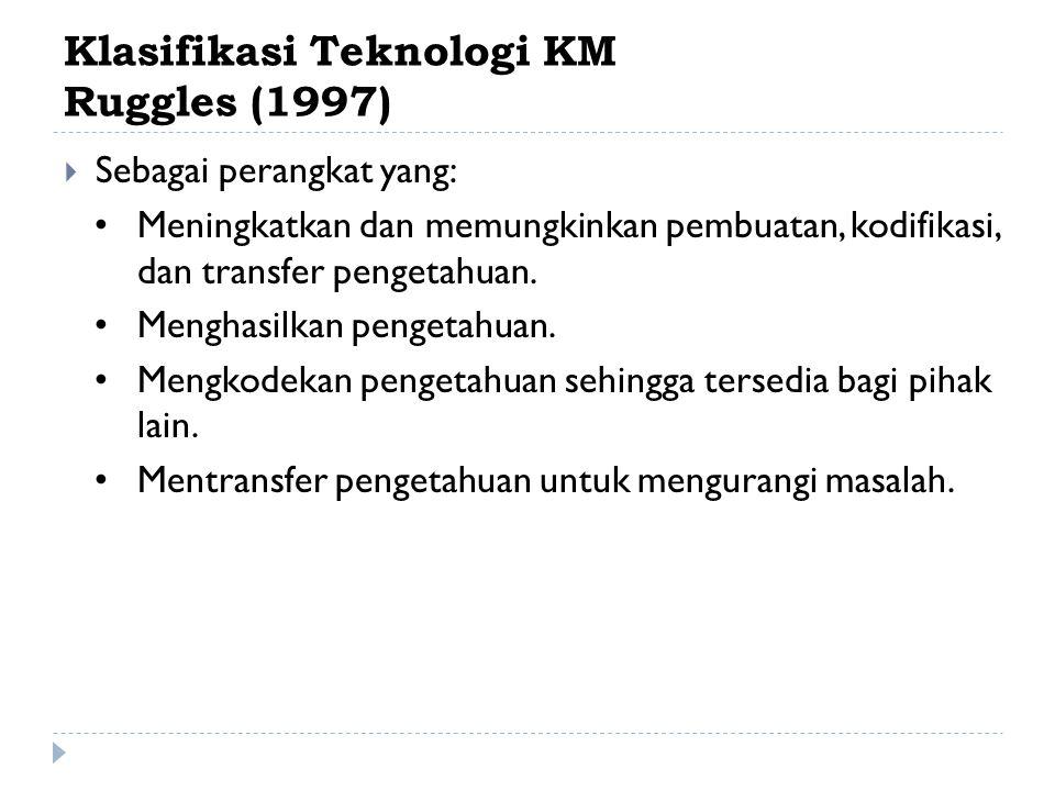 Klasifikasi Teknologi KM Rollet (2003)  Berdasarkan skema: 1.