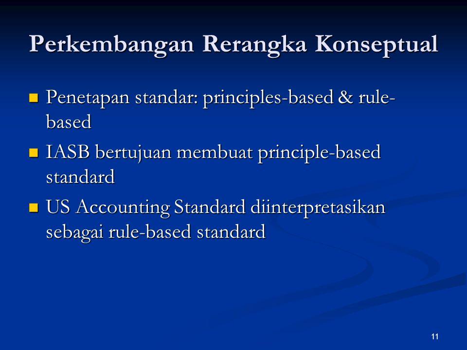 11 Perkembangan Rerangka Konseptual Penetapan standar: principles-based & rule- based Penetapan standar: principles-based & rule- based IASB bertujuan