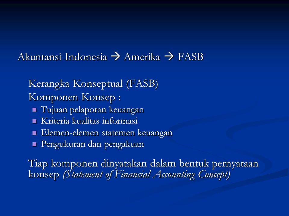 Akuntansi Indonesia  Amerika  FASB Kerangka Konseptual (FASB) Komponen Konsep : Tujuan pelaporan keuangan Kriteria kualitas informasi Elemen-elemen statemen keuangan Pengukuran dan pengakuan Tiap komponen dinyatakan dalam bentuk pernyataan konsep (Statement of Financial Accounting Concept)