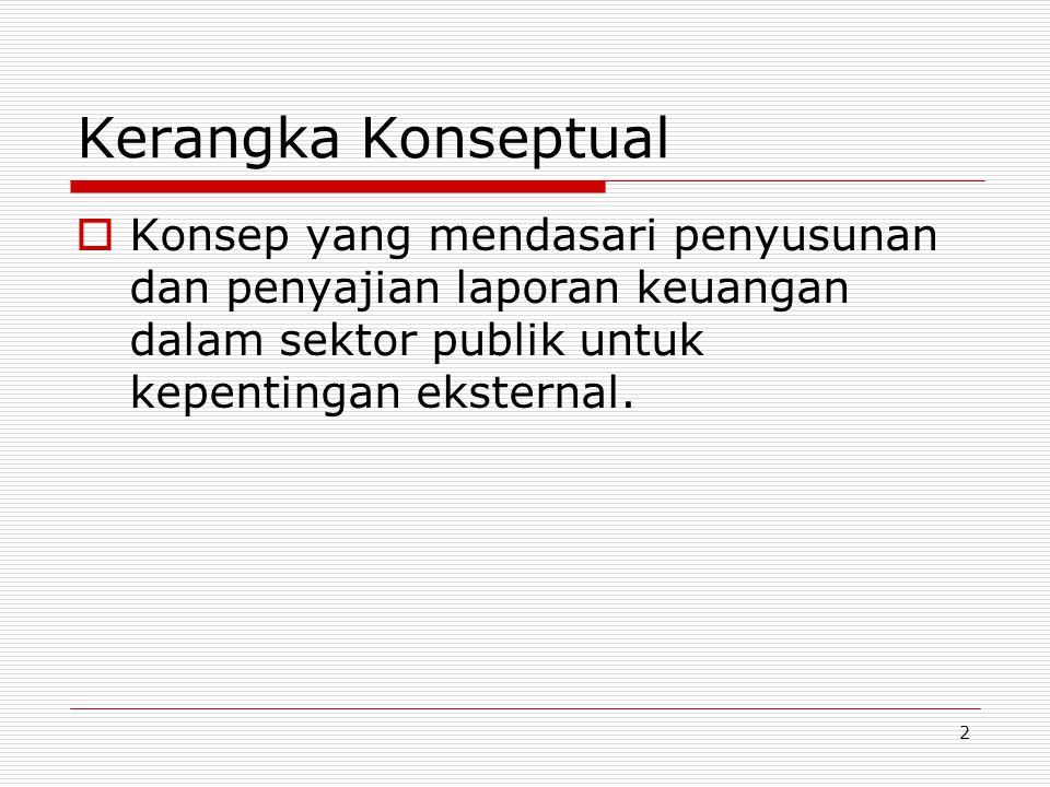 2 Kerangka Konseptual  Konsep yang mendasari penyusunan dan penyajian laporan keuangan dalam sektor publik untuk kepentingan eksternal.