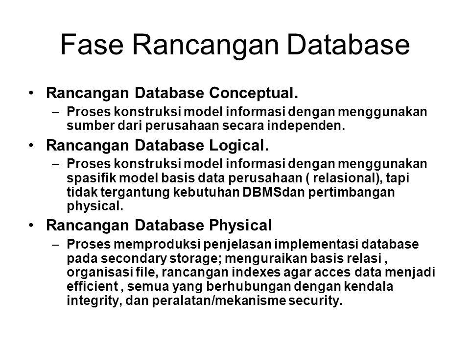 Fase Rancangan Database Rancangan Database Conceptual. –Proses konstruksi model informasi dengan menggunakan sumber dari perusahaan secara independen.