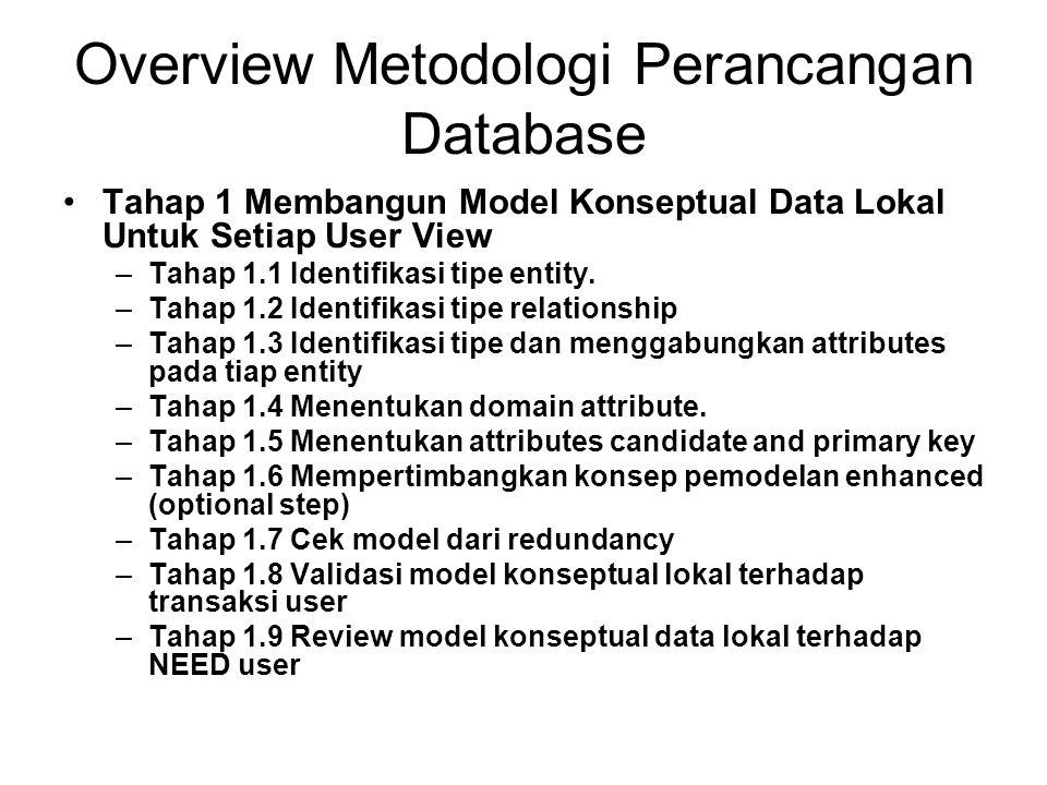 Overview Metodologi Perancangan Database Tahap 2 Membangun dan Memvalidasi Model Logical Data Lokal Untuk Setiap View –Tahap 2.1 Menghilangkan features tidak compatible terhadap model relational (optional step) –Tahap 2.2 Menentukan relasi untuk model logikal data lokal –Tahap 2.3 Validasi relasi dengan menggunakan normalization –Tahap 2.4 Validasi relasi terhadap transactions user –Tahap 2.5 Menentukan kendala integrity –Tahap 2.6 Review model logical data lokal terhadap NEED user