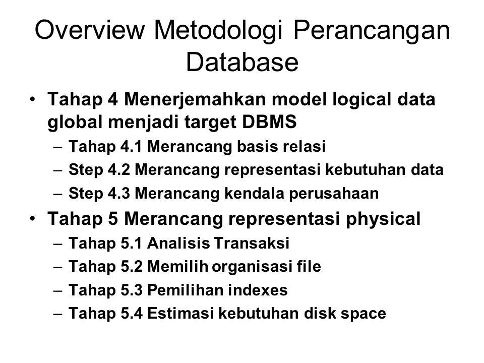 Overview Metodologi Perancangan Database Tahap 4 Menerjemahkan model logical data global menjadi target DBMS –Tahap 4.1 Merancang basis relasi –Step 4