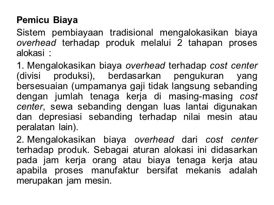 Pemicu Biaya Sistem pembiayaan tradisional mengalokasikan biaya overhead terhadap produk melalui 2 tahapan proses alokasi : 1. Mengalokasikan biaya ov