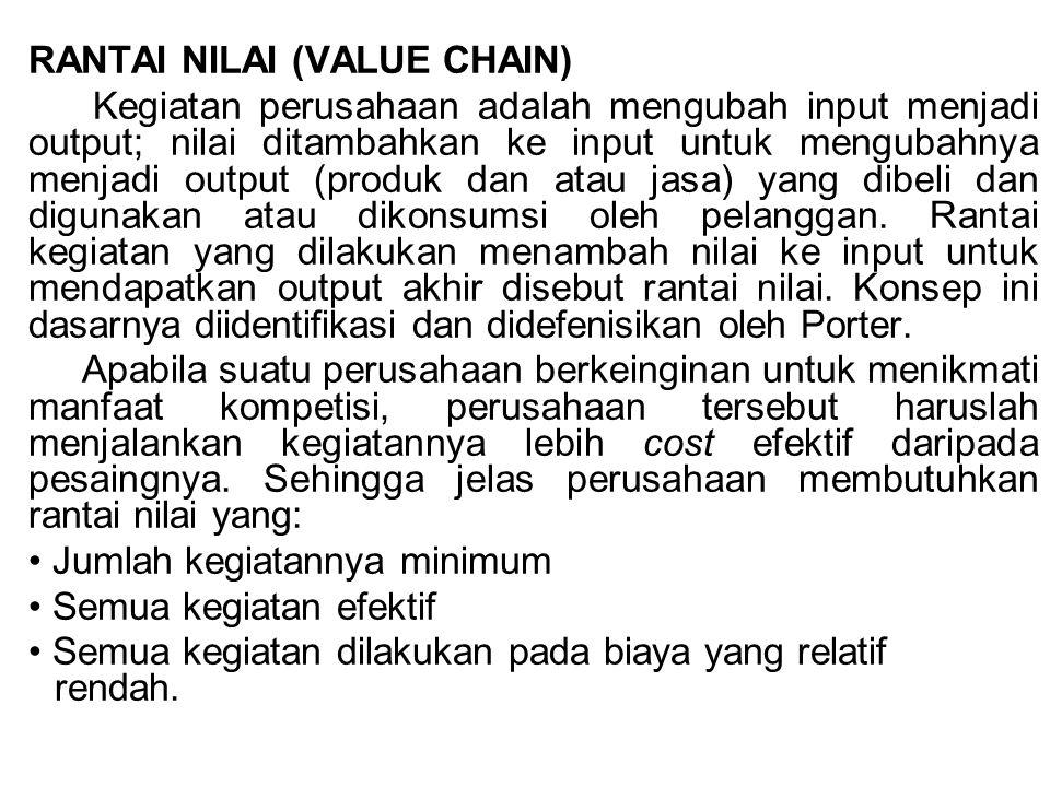 RANTAI NILAI (VALUE CHAIN) Kegiatan perusahaan adalah mengubah input menjadi output; nilai ditambahkan ke input untuk mengubahnya menjadi output (prod