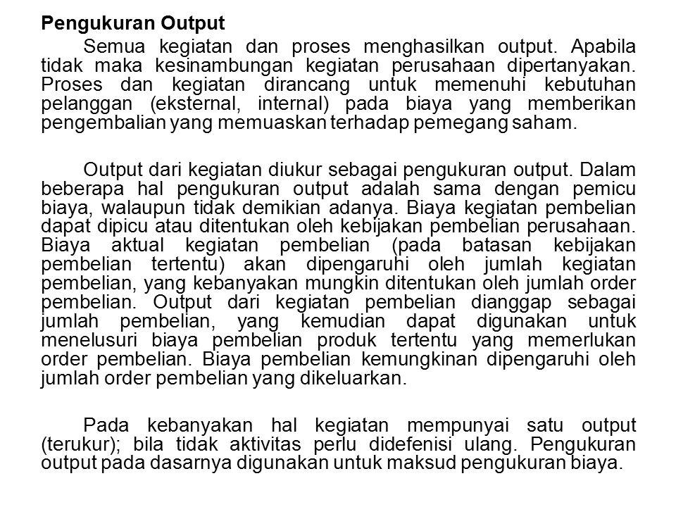 Pengukuran Output Semua kegiatan dan proses menghasilkan output. Apabila tidak maka kesinambungan kegiatan perusahaan dipertanyakan. Proses dan kegiat