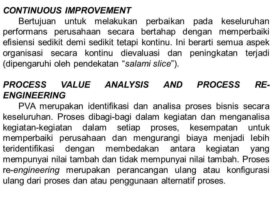 CONTINUOUS IMPROVEMENT Bertujuan untuk melakukan perbaikan pada keseluruhan performans perusahaan secara bertahap dengan memperbaiki efisiensi sedikit