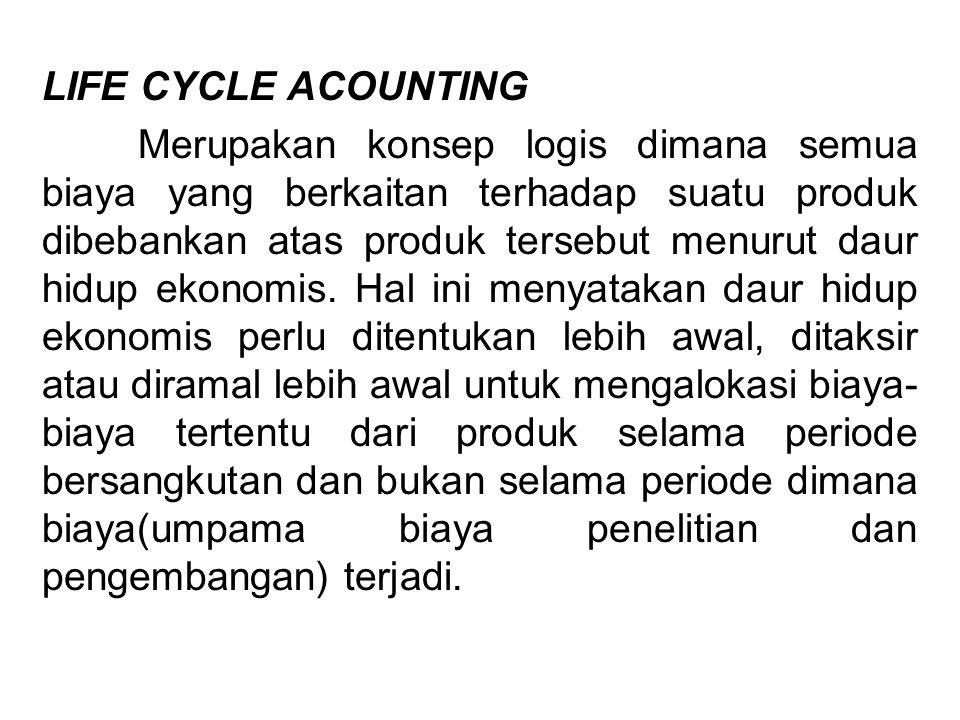 LIFE CYCLE ACOUNTING Merupakan konsep logis dimana semua biaya yang berkaitan terhadap suatu produk dibebankan atas produk tersebut menurut daur hidup