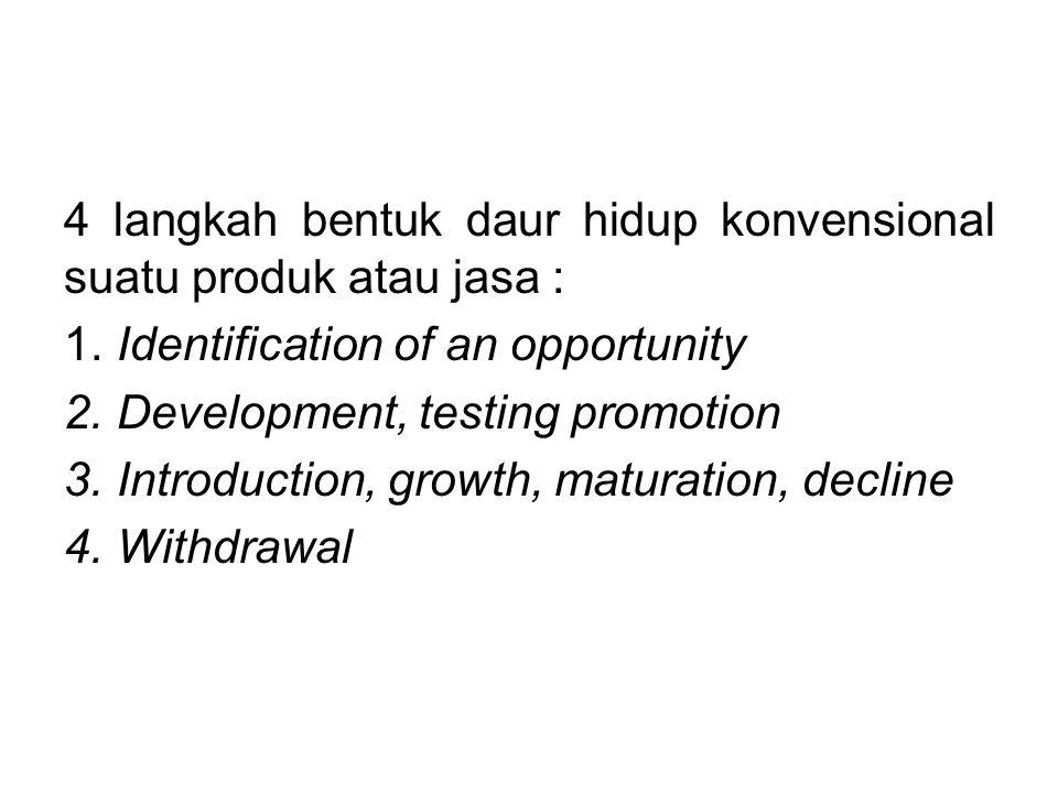 4 langkah bentuk daur hidup konvensional suatu produk atau jasa : 1. Identification of an opportunity 2. Development, testing promotion 3. Introductio
