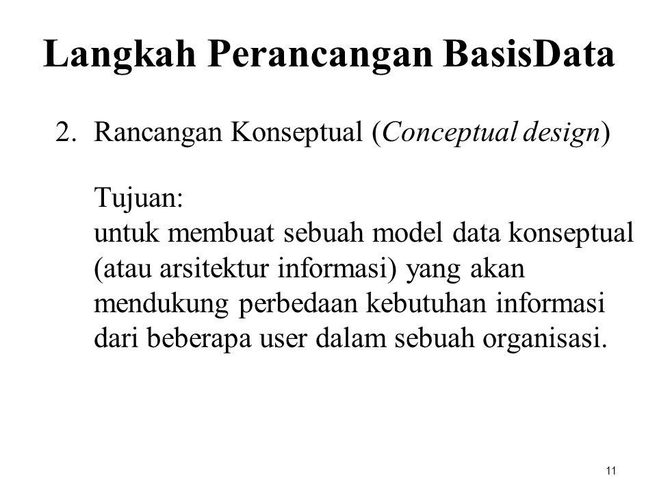 2.Rancangan Konseptual (Conceptual design) Tujuan: untuk membuat sebuah model data konseptual (atau arsitektur informasi) yang akan mendukung perbedaa