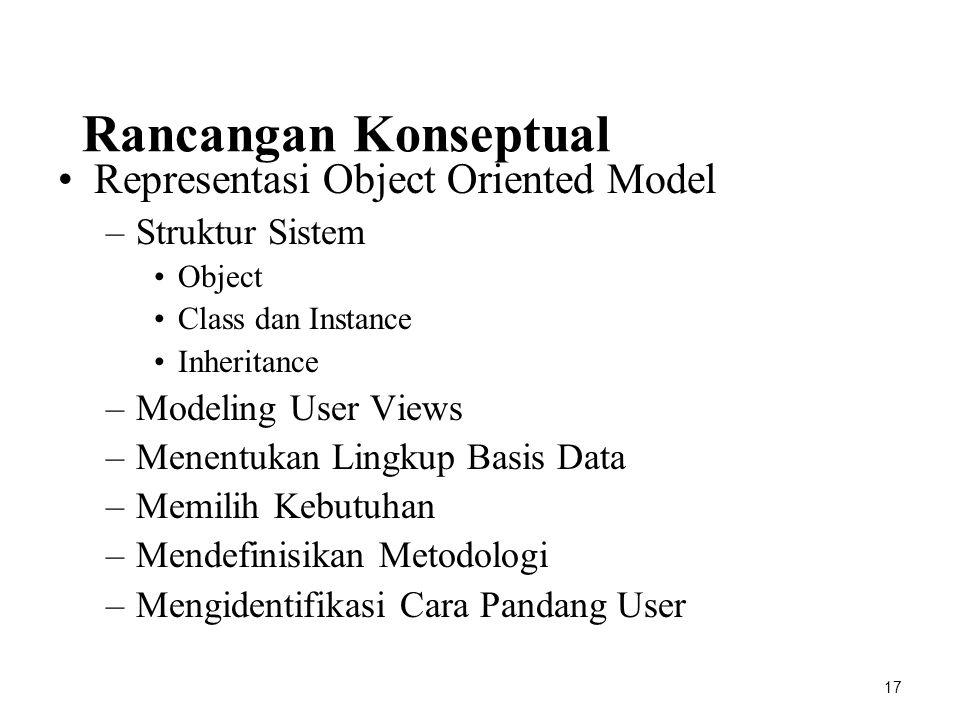 Rancangan Konseptual Representasi Object Oriented Model –Struktur Sistem Object Class dan Instance Inheritance –Modeling User Views –Menentukan Lingku