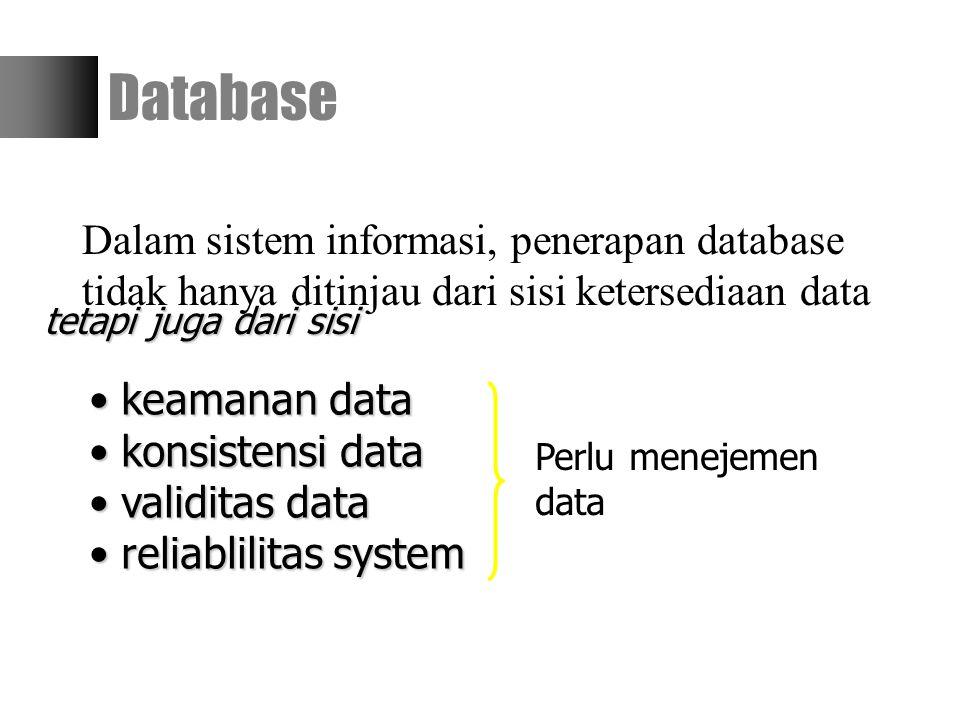 Dalam sistem informasi, penerapan database tidak hanya ditinjau dari sisi ketersediaan data Database tetapi juga dari sisi keamanan data keamanan data