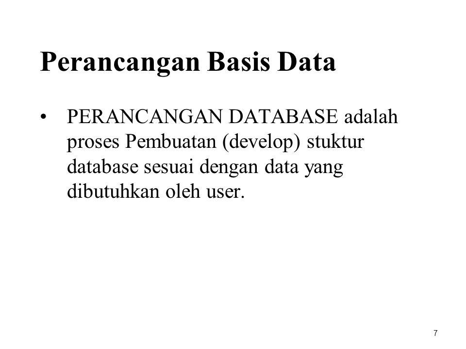 Perancangan Basis Data PERANCANGAN DATABASE adalah proses Pembuatan (develop) stuktur database sesuai dengan data yang dibutuhkan oleh user. 7