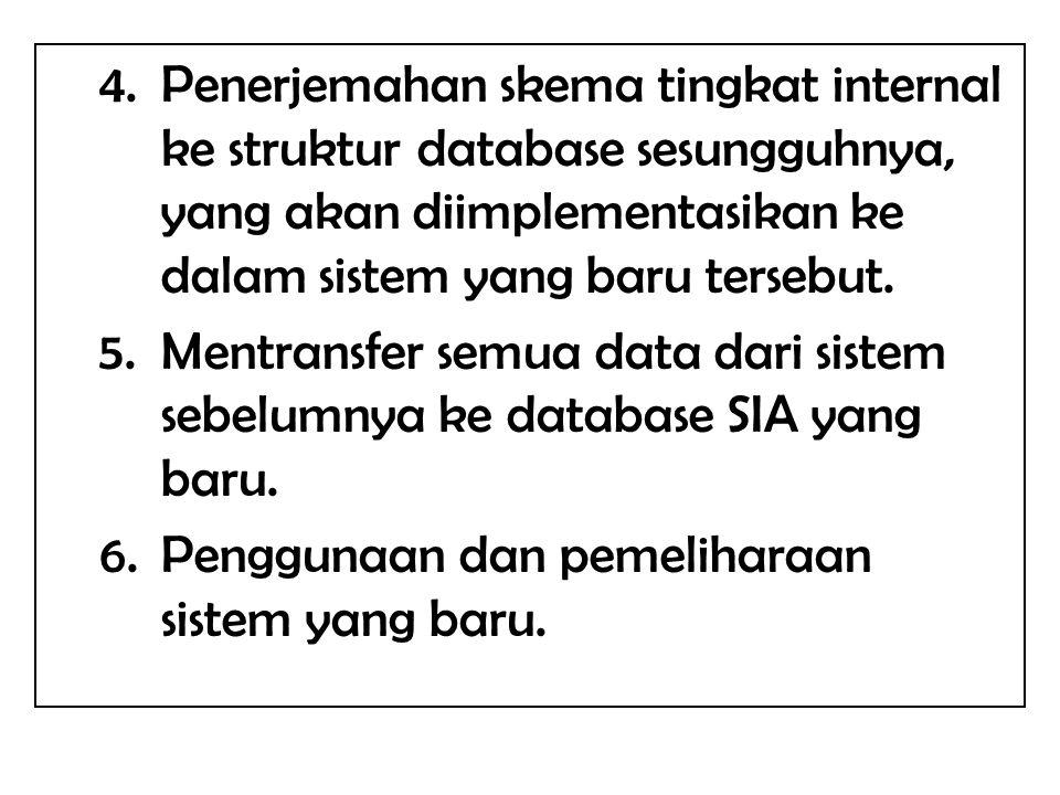 4.Penerjemahan skema tingkat internal ke struktur database sesungguhnya, yang akan diimplementasikan ke dalam sistem yang baru tersebut. 5.Mentransfer