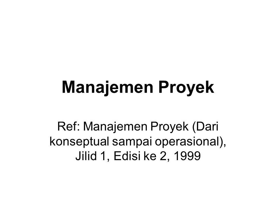 Manajemen Proyek Ref: Manajemen Proyek (Dari konseptual sampai operasional), Jilid 1, Edisi ke 2, 1999