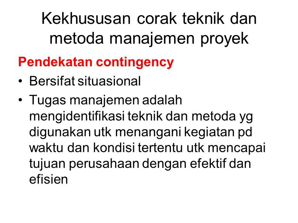 Pendekatan contingency Bersifat situasional Tugas manajemen adalah mengidentifikasi teknik dan metoda yg digunakan utk menangani kegiatan pd waktu dan