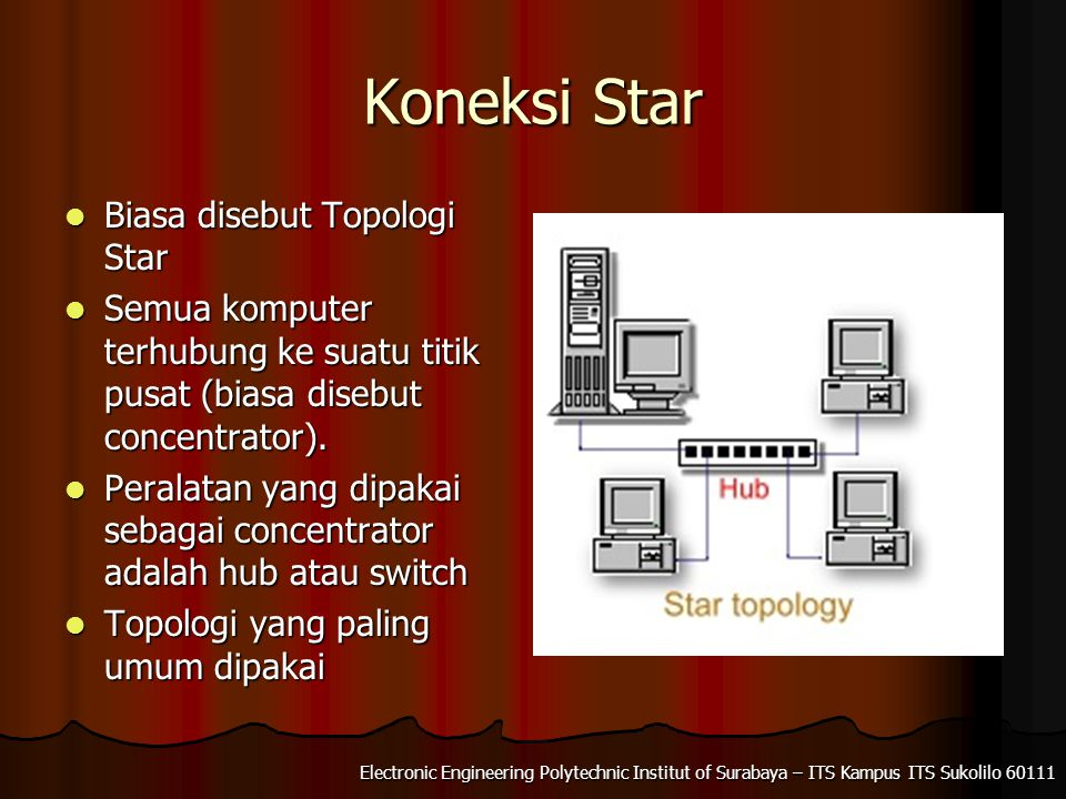 Electronic Engineering Polytechnic Institut of Surabaya – ITS Kampus ITS Sukolilo 60111 Extended Star Beberapa jaringan star digabung menjadi satu jaringan star yang besar Beberapa jaringan star digabung menjadi satu jaringan star yang besar