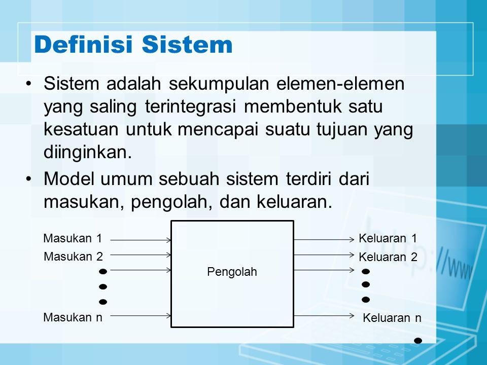 Definisi Sistem Sistem adalah sekumpulan elemen-elemen yang saling terintegrasi membentuk satu kesatuan untuk mencapai suatu tujuan yang diinginkan. M