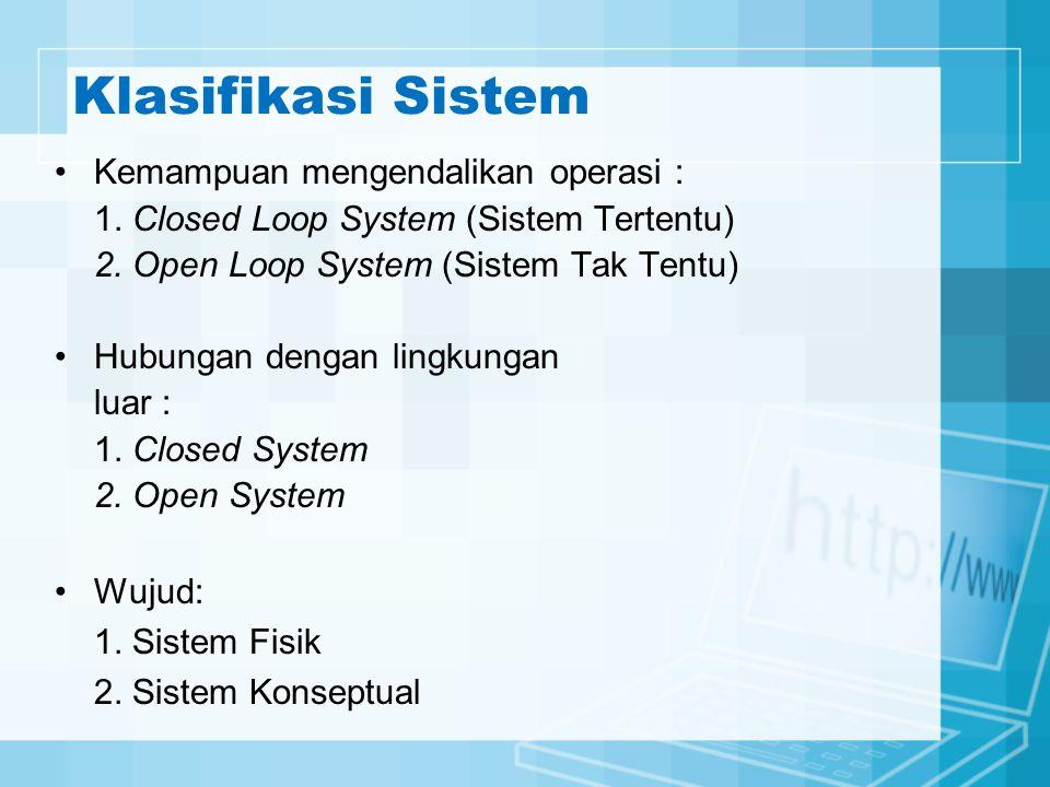 Klasifikasi Sistem Kemampuan mengendalikan operasi : 1. Closed Loop System (Sistem Tertentu) 2. Open Loop System (Sistem Tak Tentu) Hubungan dengan li