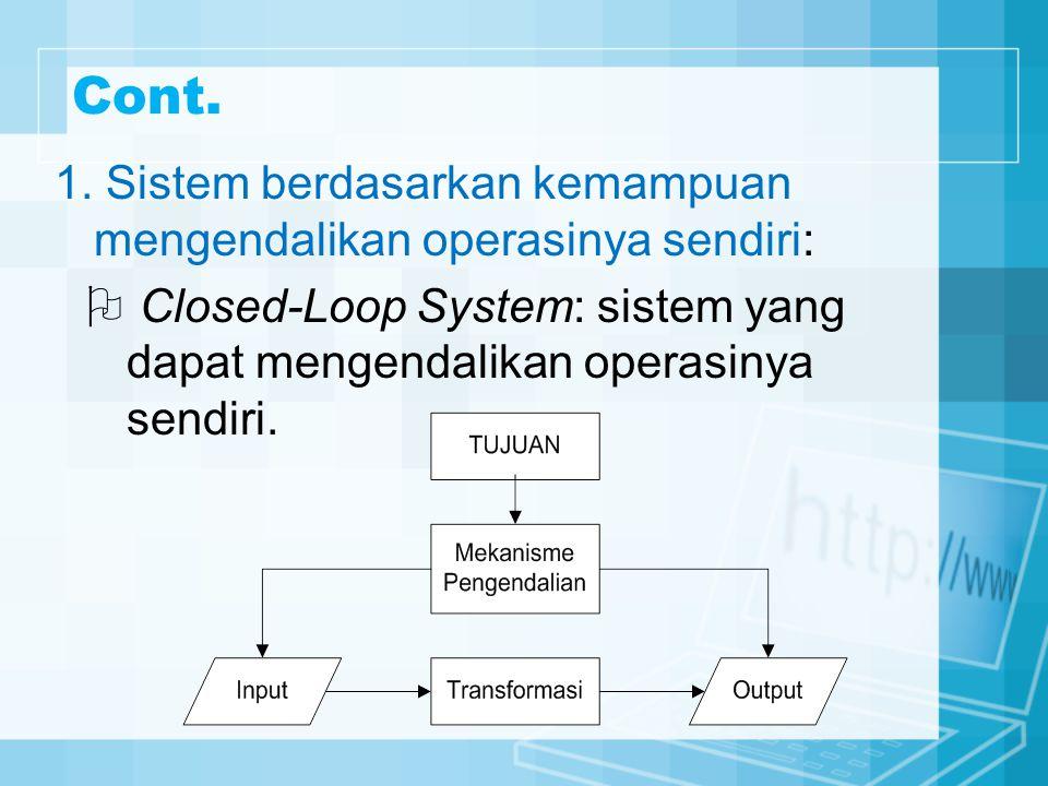 Cont. 1. Sistem berdasarkan kemampuan mengendalikan operasinya sendiri:  Closed-Loop System: sistem yang dapat mengendalikan operasinya sendiri.
