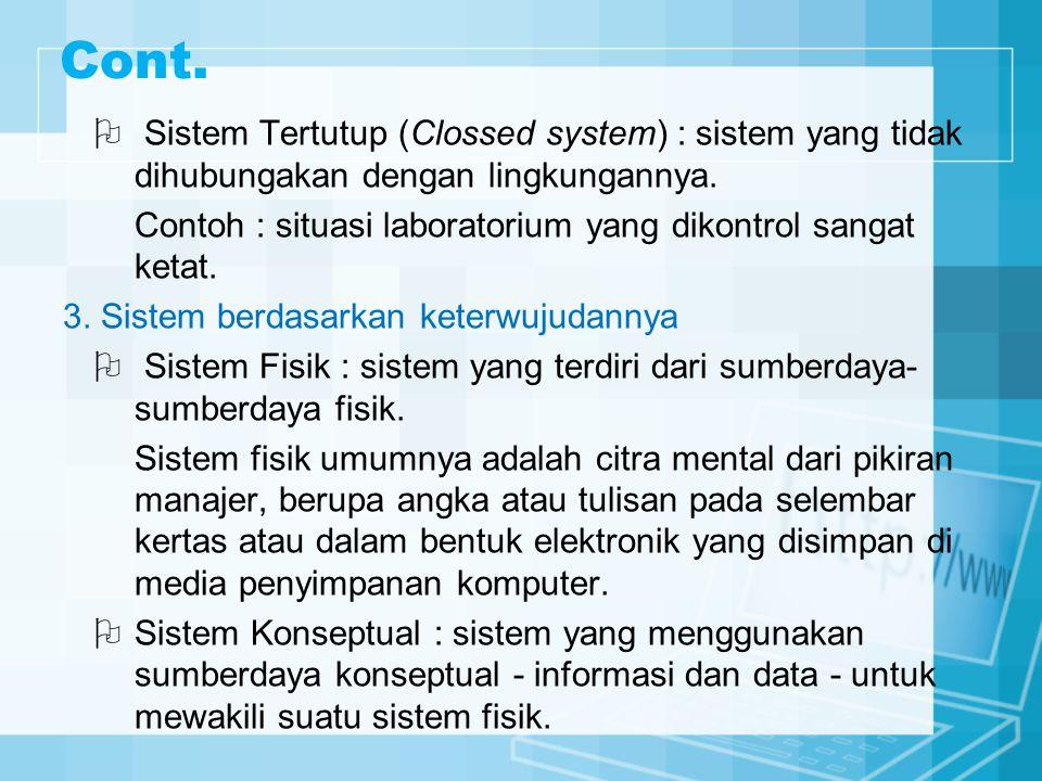 Cont.  Sistem Tertutup (Clossed system) : sistem yang tidak dihubungakan dengan lingkungannya. Contoh : situasi laboratorium yang dikontrol sangat ke
