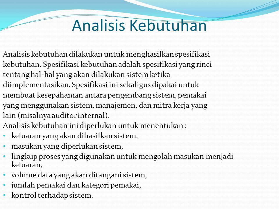 Analisis Kebutuhan Analisis kebutuhan dilakukan untuk menghasilkan spesifikasi kebutuhan. Spesifikasi kebutuhan adalah spesifikasi yang rinci tentang