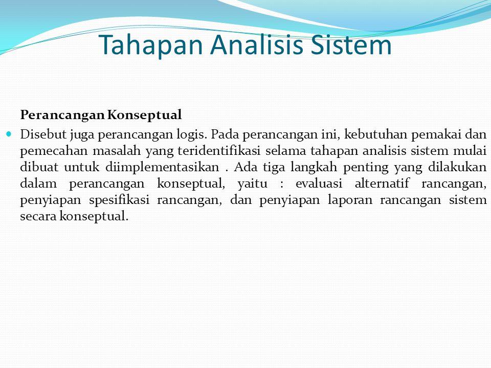 Tahapan Analisis Sistem Perancangan Konseptual Disebut juga perancangan logis. Pada perancangan ini, kebutuhan pemakai dan pemecahan masalah yang teri