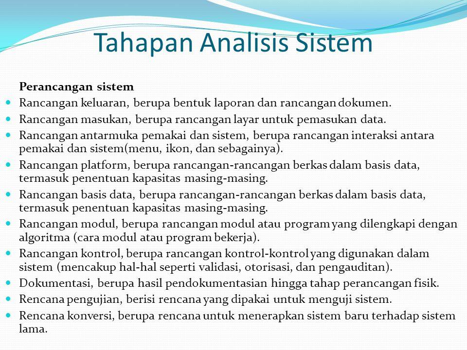 Tahapan Analisis Sistem Perancangan sistem Rancangan keluaran, berupa bentuk laporan dan rancangan dokumen. Rancangan masukan, berupa rancangan layar