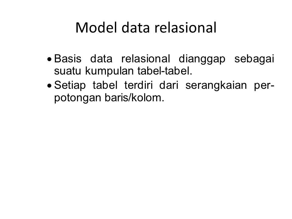 Model data relasional  Basis data relasional dianggap sebagai suatu kumpulan tabel-tabel.