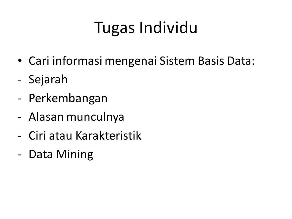 Tugas Individu Cari informasi mengenai Sistem Basis Data: -Sejarah -Perkembangan -Alasan munculnya -Ciri atau Karakteristik -Data Mining