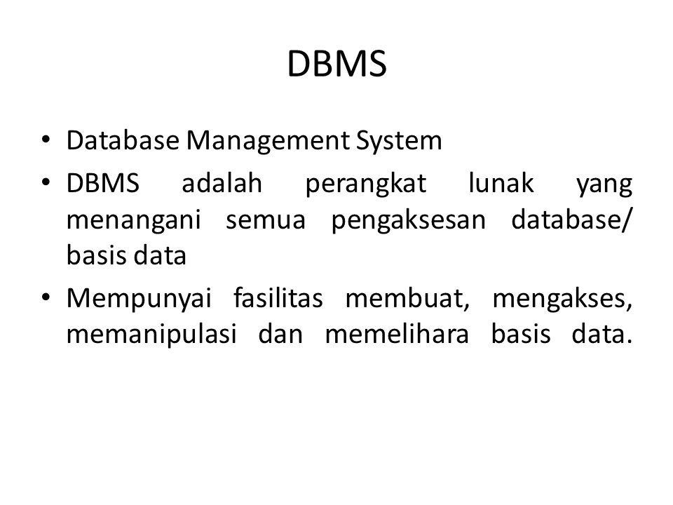 DBMS Database Management System DBMS adalah perangkat lunak yang menangani semua pengaksesan database/ basis data Mempunyai fasilitas membuat, mengakses, memanipulasi dan memelihara basis data.