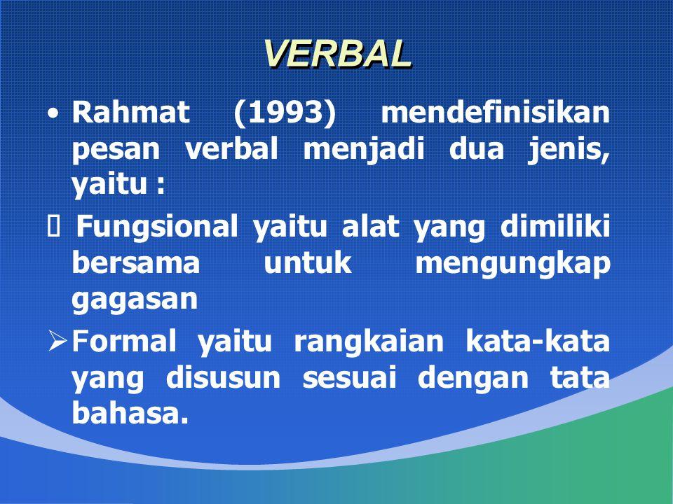VERBAL Rahmat (1993) mendefinisikan pesan verbal menjadi dua jenis, yaitu :  Fungsional yaitu alat yang dimiliki bersama untuk mengungkap gagasan  F ormal yaitu rangkaian kata-kata yang disusun sesuai dengan tata bahasa.