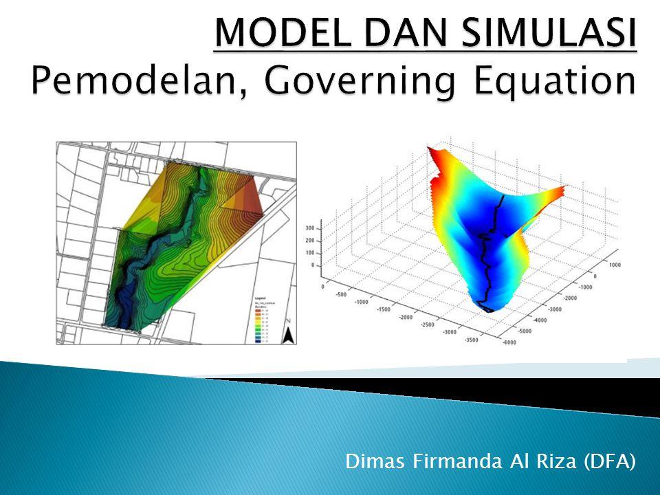  Pengertian Model dan Simulasi (M&S) (1)  Contoh fenomena alami dan pemodelannya (2)  Model konseptual (3)  Persamaan Pengatur (4)  Syarat batas (5)  Pemecahan Numerik (6-7)  Verifikasi dan Validasi model (8)  Visualisasi (9)  Simulasi dengan komputer(10)  Model Ekosistem/Lingkungan (11)  Integrasi model matematis dan GIS (12)  Model DAS (13) UTS UAS