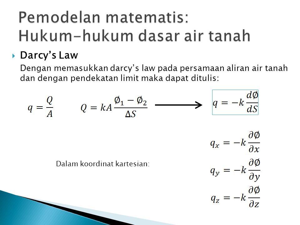  Darcy's Law Dengan memasukkan darcy's law pada persamaan aliran air tanah dan dengan pendekatan limit maka dapat ditulis: Dalam koordinat kartesian: