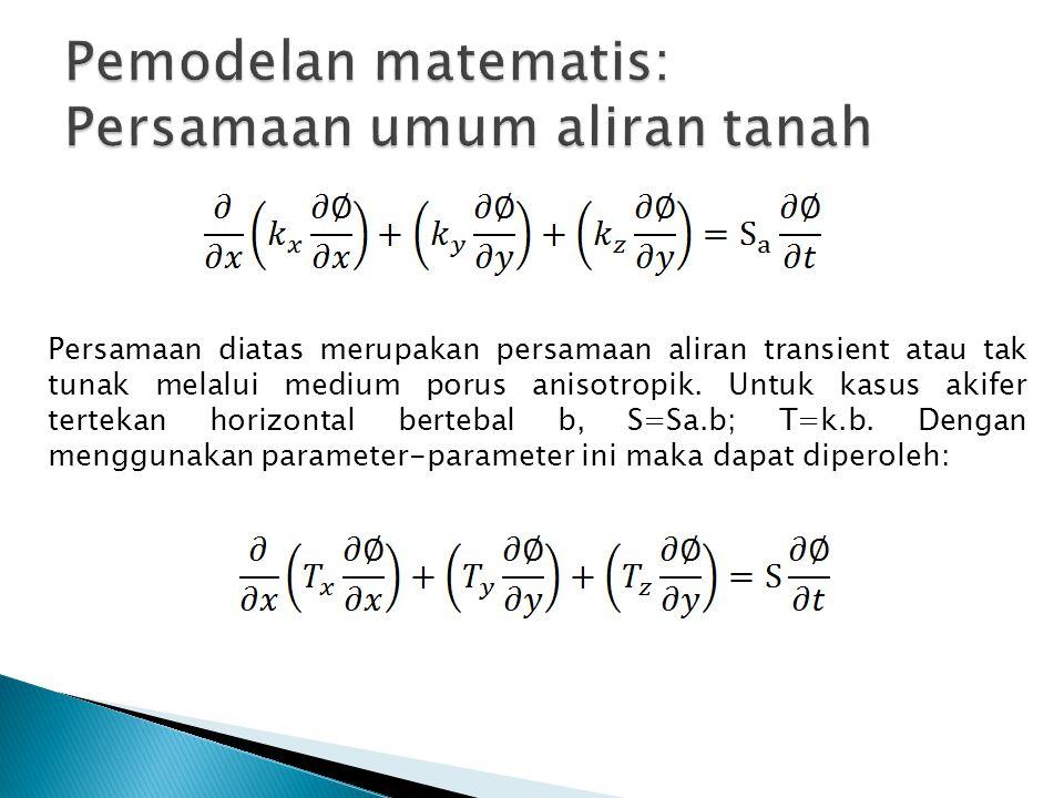 Persamaan diatas merupakan persamaan aliran transient atau tak tunak melalui medium porus anisotropik. Untuk kasus akifer tertekan horizontal bertebal
