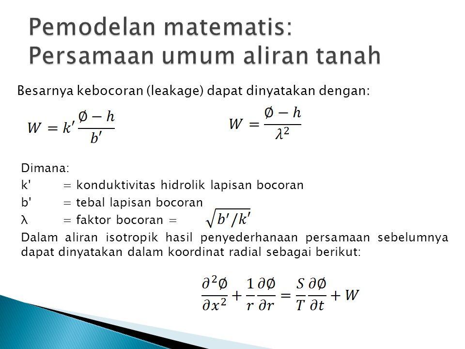 Besarnya kebocoran (leakage) dapat dinyatakan dengan: Dimana: k'= konduktivitas hidrolik lapisan bocoran b'= tebal lapisan bocoran λ= faktor bocoran =