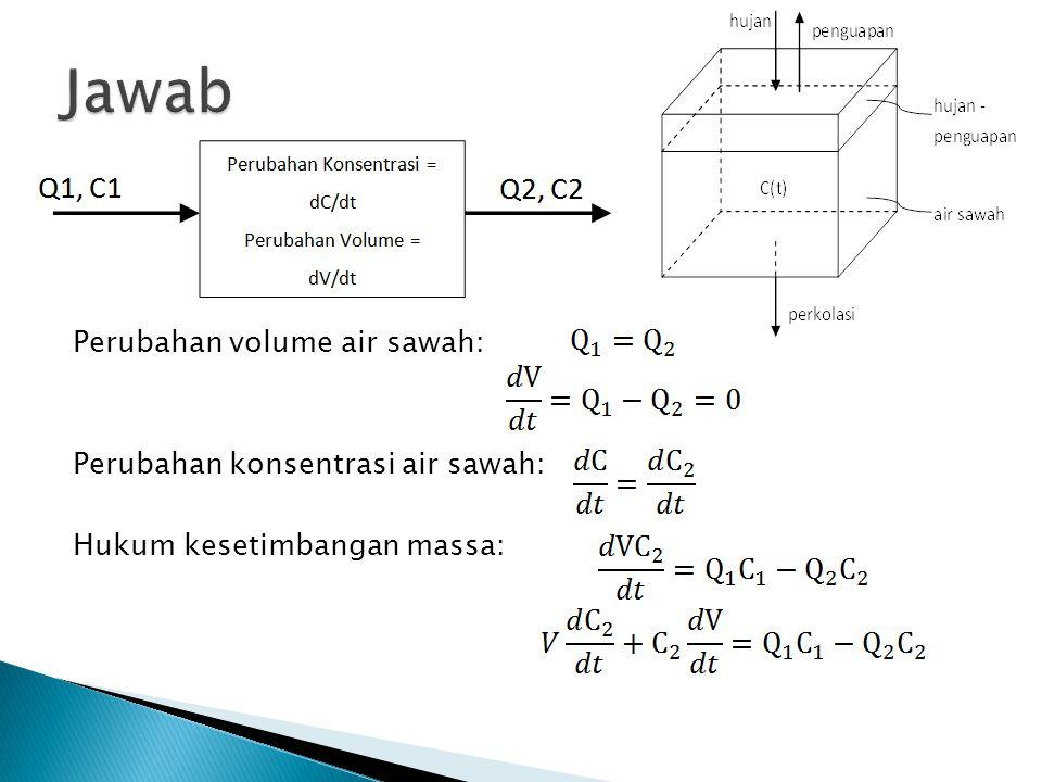 Perubahan volume air sawah: Perubahan konsentrasi air sawah: Hukum kesetimbangan massa: