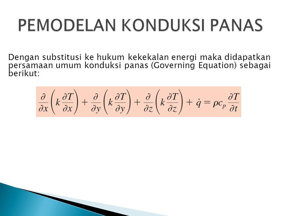 Dengan substitusi ke hukum kekekalan energi maka didapatkan persamaan umum konduksi panas (Governing Equation) sebagai berikut: