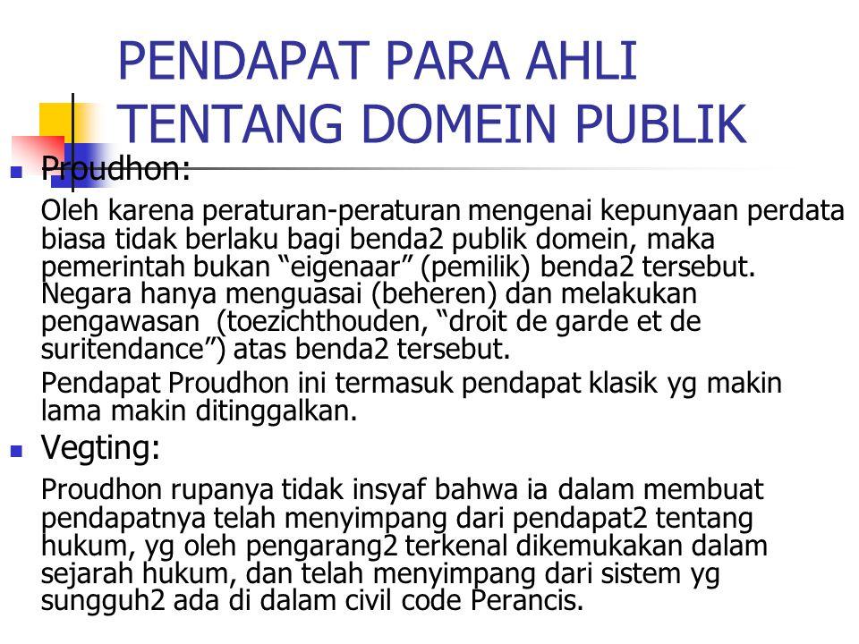 PENDAPAT PARA AHLI TENTANG DOMEIN PUBLIK Proudhon: Oleh karena peraturan-peraturan mengenai kepunyaan perdata biasa tidak berlaku bagi benda2 publik d