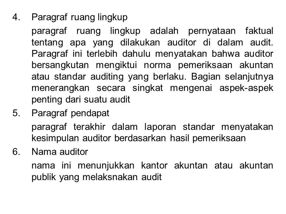 4.Paragraf ruang lingkup paragraf ruang lingkup adalah pernyataan faktual tentang apa yang dilakukan auditor di dalam audit. Paragraf ini terlebih dah