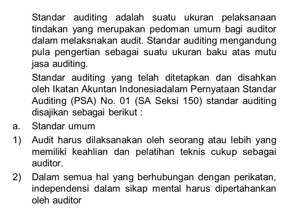 Standar auditing adalah suatu ukuran pelaksanaan tindakan yang merupakan pedoman umum bagi auditor dalam melaksnakan audit. Standar auditing mengandun