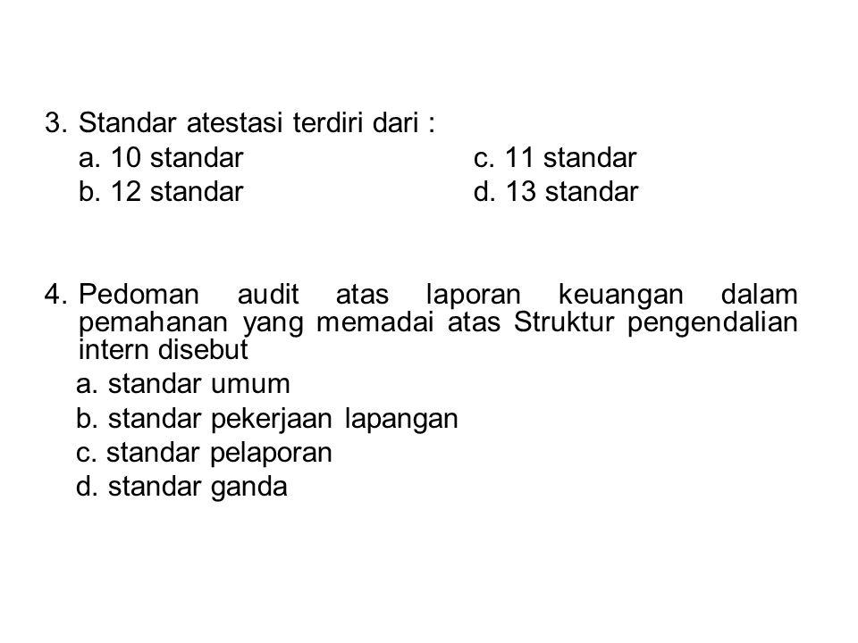 3.Standar atestasi terdiri dari : a. 10 standarc. 11 standar b. 12 standard. 13 standar 4.Pedoman audit atas laporan keuangan dalam pemahanan yang mem