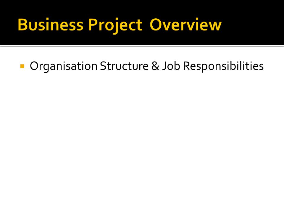  Organisation Structure & Job Responsibilities