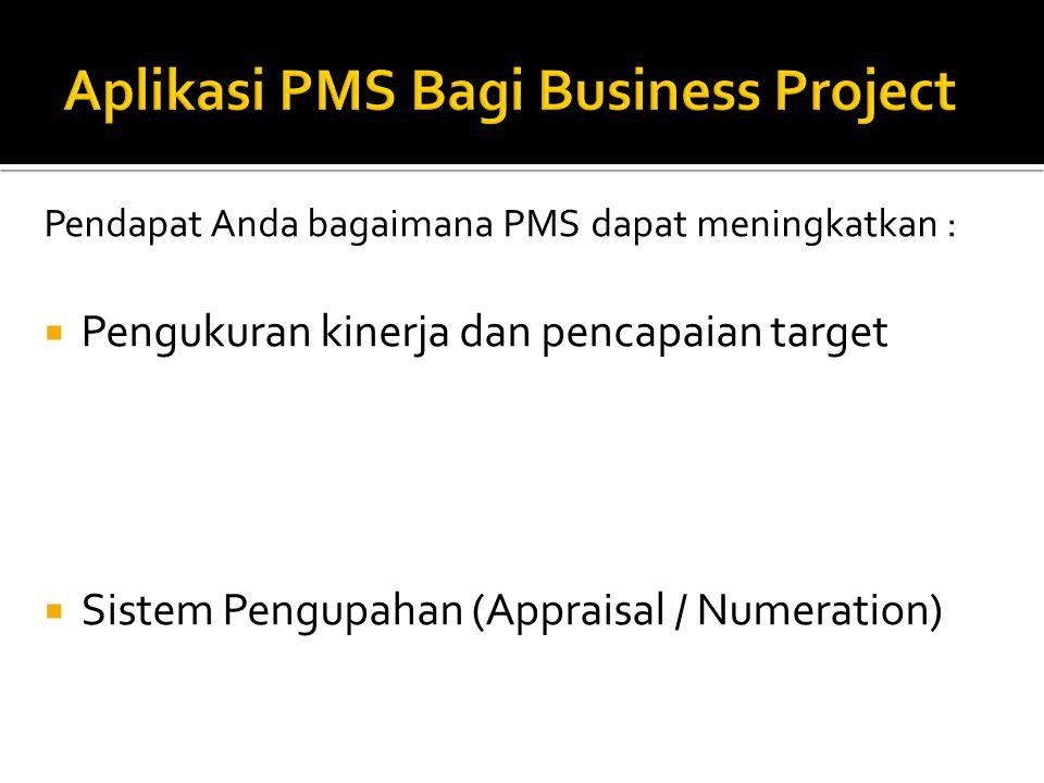 Pendapat Anda bagaimana PMS dapat meningkatkan :  Pengukuran kinerja dan pencapaian target  Sistem Pengupahan (Appraisal / Numeration)