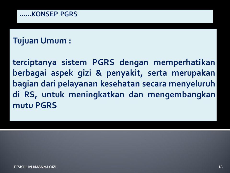 Tujuan Umum : terciptanya sistem PGRS dengan memperhatikan berbagai aspek gizi & penyakit, serta merupakan bagian dari pelayanan kesehatan secara meny