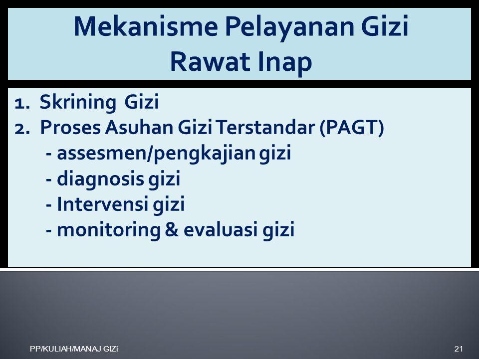 1. Skrining Gizi 2. Proses Asuhan Gizi Terstandar (PAGT) - assesmen/pengkajian gizi - diagnosis gizi - Intervensi gizi - monitoring & evaluasi gizi PP