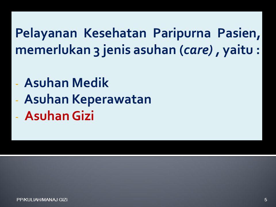 Pelayanan Kesehatan Paripurna Pasien, memerlukan 3 jenis asuhan (care), yaitu : - Asuhan Medik - Asuhan Keperawatan - Asuhan Gizi PP/KULIAH/MANAJ GIZi