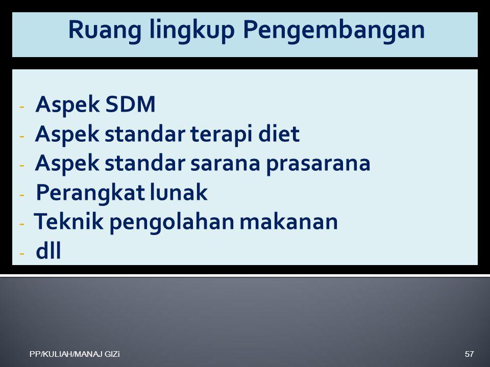 - Aspek SDM - Aspek standar terapi diet - Aspek standar sarana prasarana - Perangkat lunak - Teknik pengolahan makanan - dll PP/KULIAH/MANAJ GIZi57