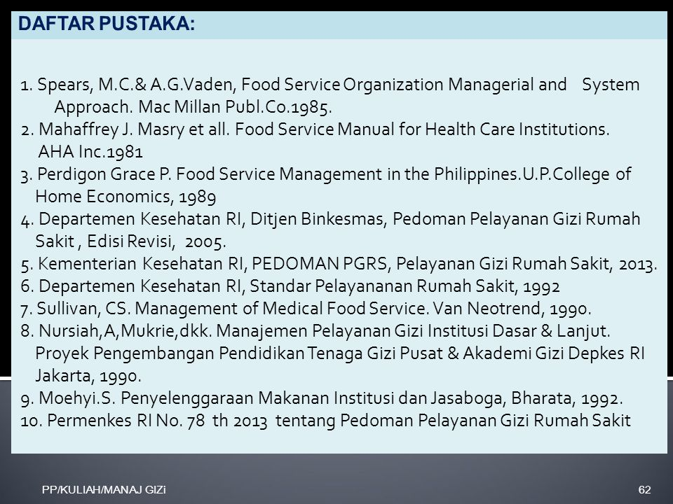 1. Spears, M.C.& A.G.Vaden, Food Service Organization Managerial and System Approach. Mac Millan Publ.Co.1985. 2. Mahaffrey J. Masry et all. Food Serv